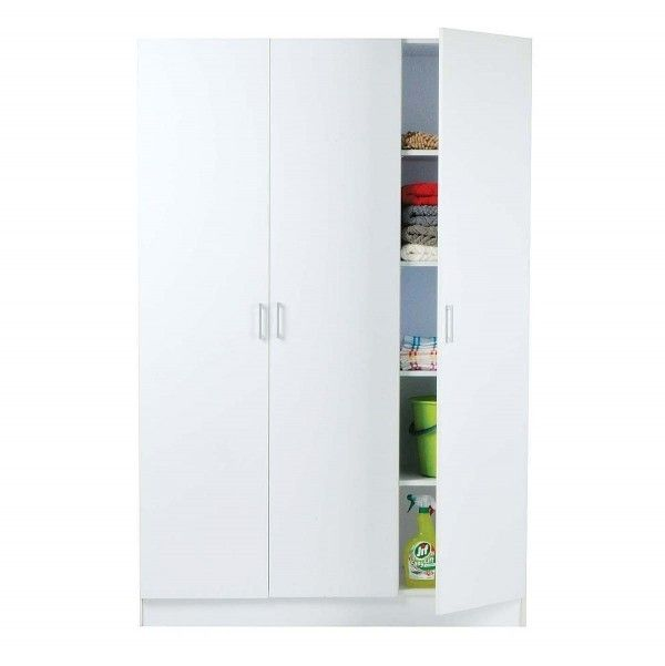 Pantry 3 Door In White Finish 120x41x180.5cm $149