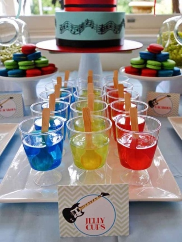 Jello Cups Rock Star Guitar Boy Birthday Party Dessert Table Ideas