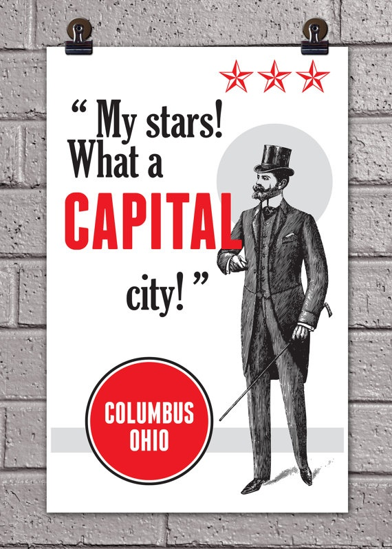 126 best columbus on etsymade here images on pinterest columbus columbus what a capital city print 11 x 17 ohio city art poster malvernweather Images