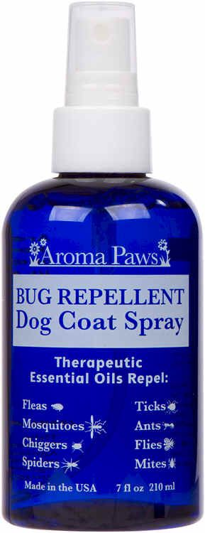 All Natural Repellent Dog Coat Spray Free From: DEET, Pyrethrins or Permethrins   Conditioning Bug Repellent Dog Coat Spray has been formulated to be effective in repelling bugs, yet sensitive to your dogs olfactory system   Peppermint Oil: kills fleas and eggs & repels spiders Geranium Oil: repels ticks & mosquitoes Lemongrass Oil: repels fleas & ticks Lavender & Eucalyptus Oils: repel mites & flies Clove Oil: repels ants & chiggers