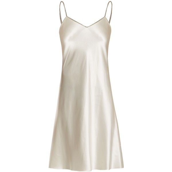 Helmut Lang Decorative-zip silk-satin slip dress (560 CHF) ❤ liked on Polyvore featuring dresses, ivory, winter white cocktail dress, ivory slip dress, over the shoulder dress, above the knee dress and silk satin slip dress