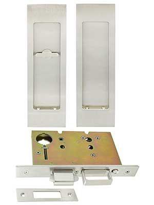 Premium Patio Pocket-Door Mortise Lock Set with Rectangular Pulls | House of Antique Hardware