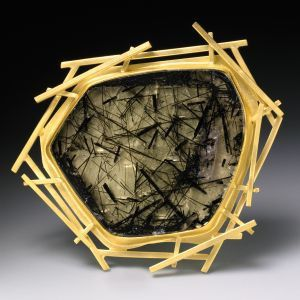 brooch Description: brooch-hand fabricated in 18k, 22k and tourmaline in quartz Dimensions: H:1.80 x W:2.00 x D:0.35 Inches