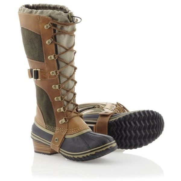 SOREL Women's Conquest Carly Boot (3,505 MXN) ❤ liked on Polyvore featuring shoes, boots, botas, trail, mid-calf boots, calf length boots, leather heel boots, wrap boots, mid calf leather boots and waterproof boots