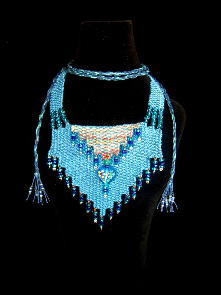 """Blue/Multi Cascade"" - 2011 - Adjustable length.  SOLD.  Woven by Terri Scache Harris, theravenscache.shutterfly.com   Hand woven, handwoven, weaving, weave, needleweaving, pin weaving, woven necklace, fashion necklace, wearable art, fiber art."