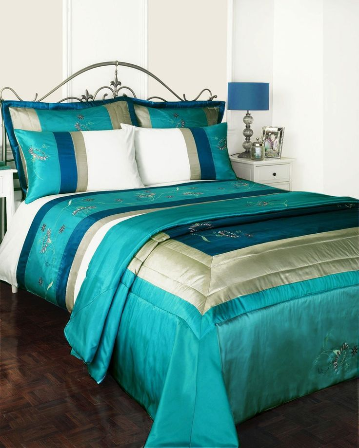 SUPER KING FULL BED SET - TURQUOISE TEAL DUVET COVER & BEDSPREAD THROW