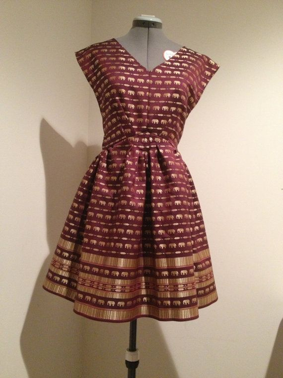 Thai Hmong elephant dress red gold by Xweets on Etsy, $90.00