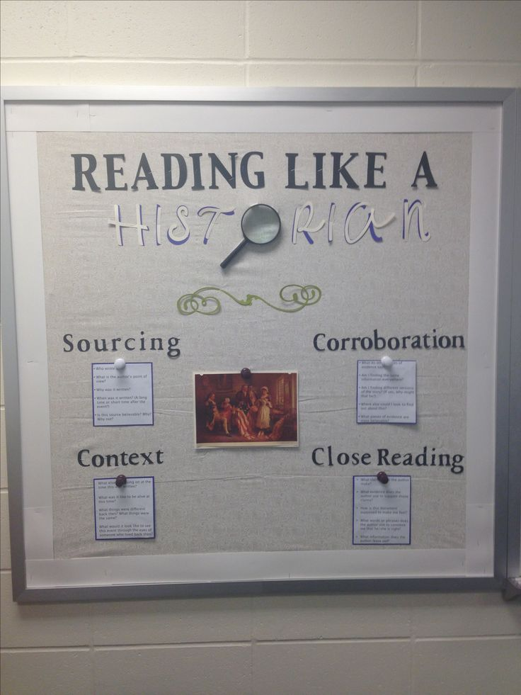 A bulletin board inspired by The Stanford History Education Group and their Reading Like a Historian Curriculum. The bulletin board features the historical thinking skills.