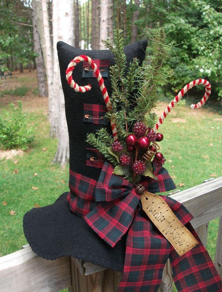 Folk Art PrimiTive WinTer ChrisTmas SNOWMAN HAT Table Top Holiday Tag Decoration #NaivePrimitive #MelissaHarmon
