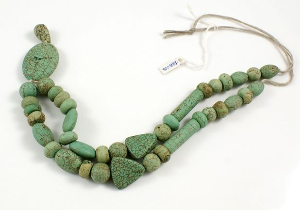 Green Turquoise Necklace Bead Strand with Oval Focal Stone
