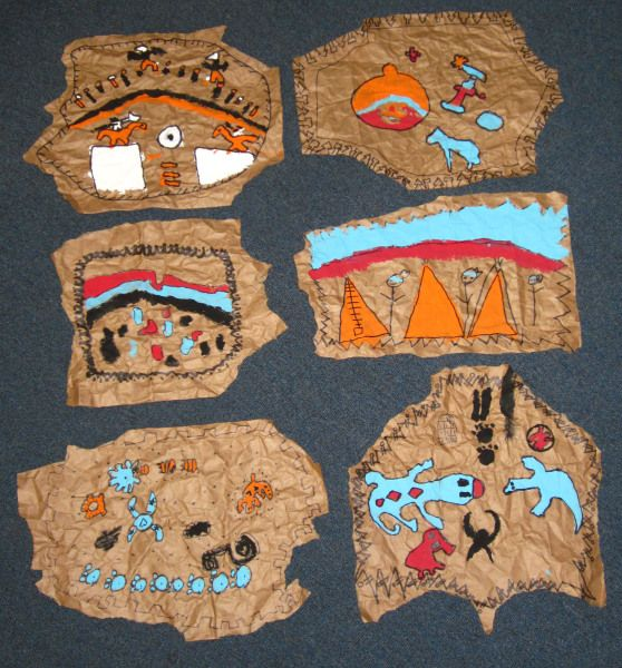 Buffalo Hides Samples - this is a great activity for students to make their own buffalo hide with  writing and pictures.  Maybe even sew them together and make a tepee.