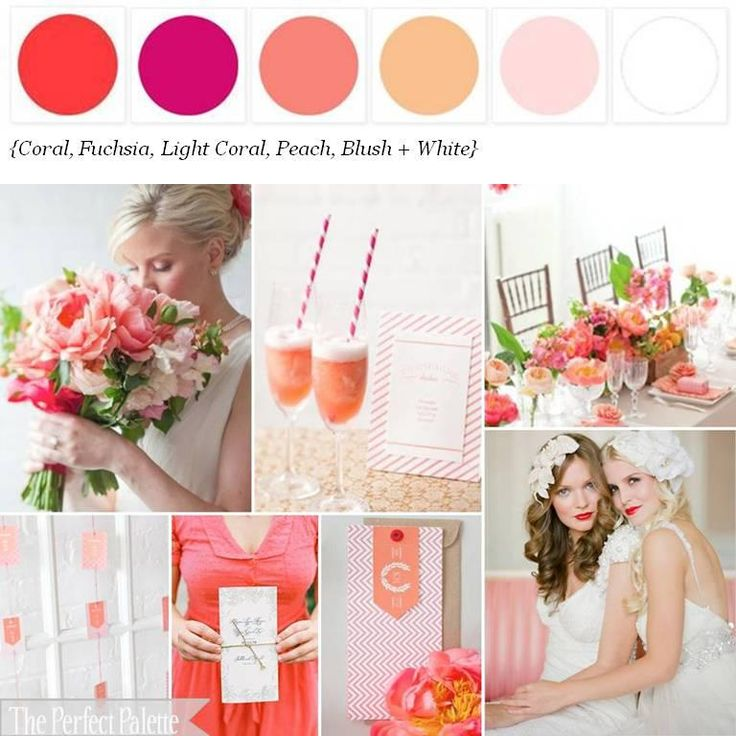 Wedding color palette: Coral, fuschia, light coral, peach, blush and white