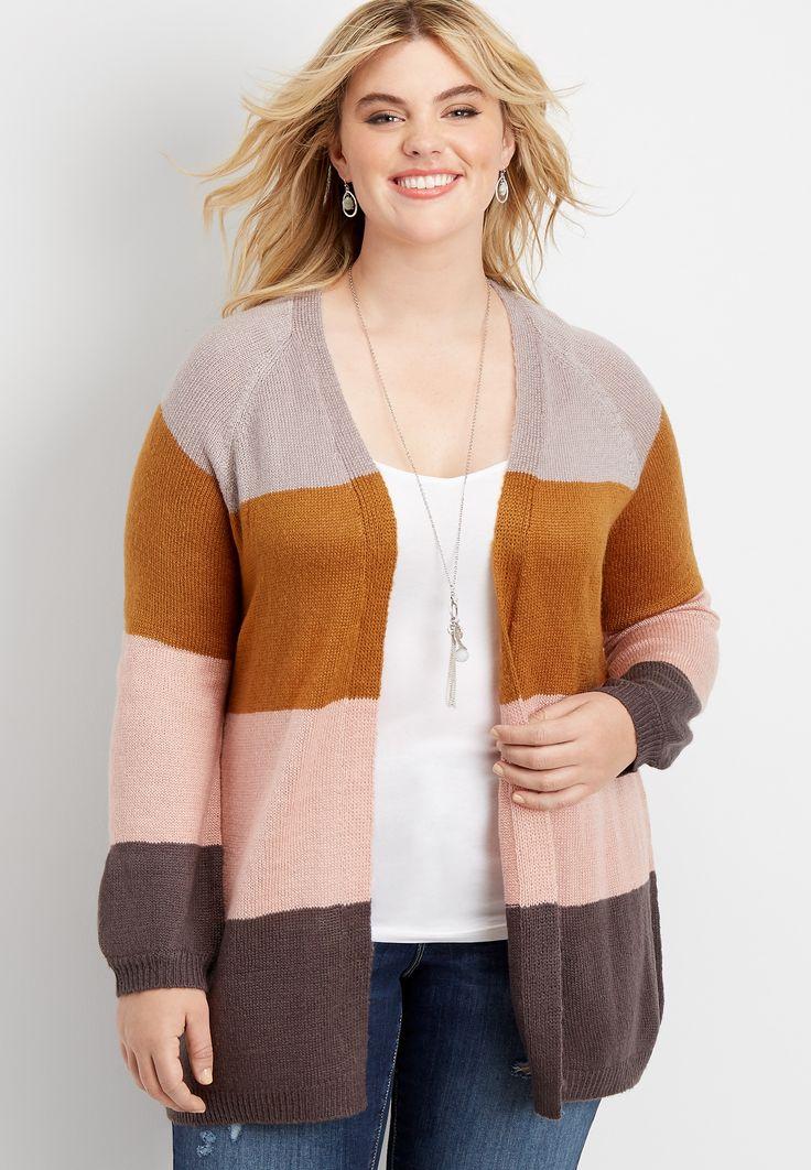 Maurices Plus Size Womens Colorblock Stripe Open Front Cardigan Orange - Size 3 1