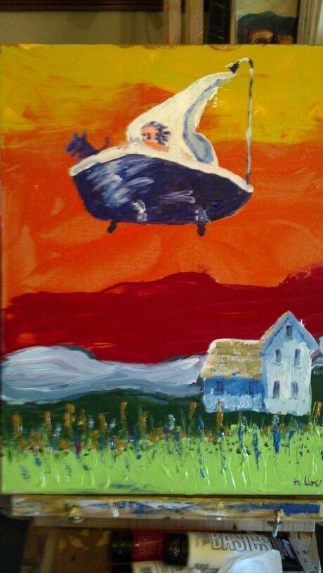 Flying Bath Tub. Chris Jalbert 5/16 Chagall,Hopper, Munch Mashup