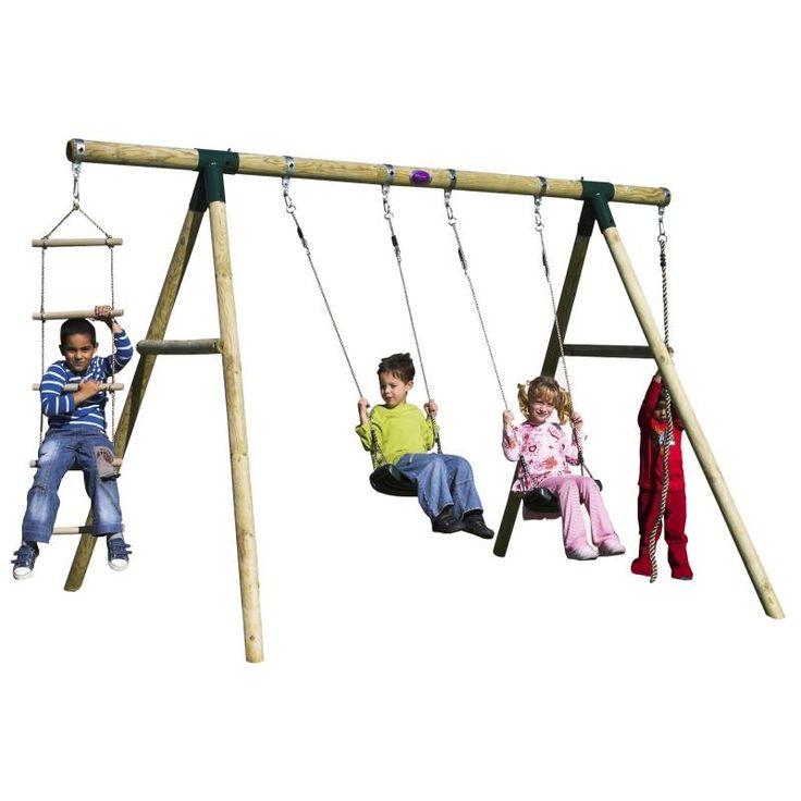 Plum Kids Double Swing Set w/ Climbing Rope, Ladder | Buy Outdoor Swings