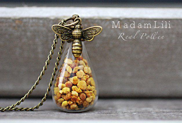 Ketten lang - Echte Bienenpollen ♥ Bronze Kette - ein Designerstück von madamlili bei DaWanda
