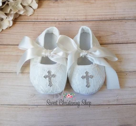 Ivory Lace Christening Shoes with