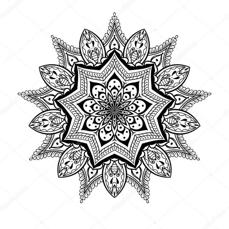 Vector sier Lotus mandala, etnische zentangled henna tattoo — Stockillustratie #92374470