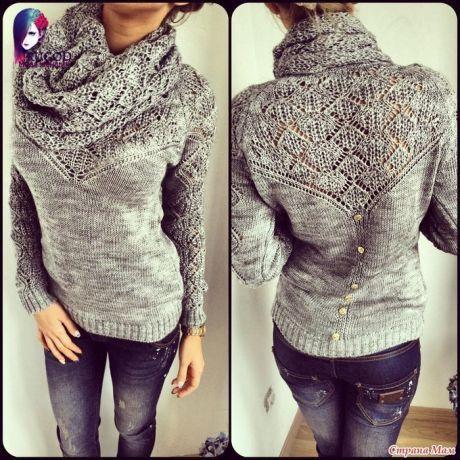 свитер с ажурной вставкой спицами