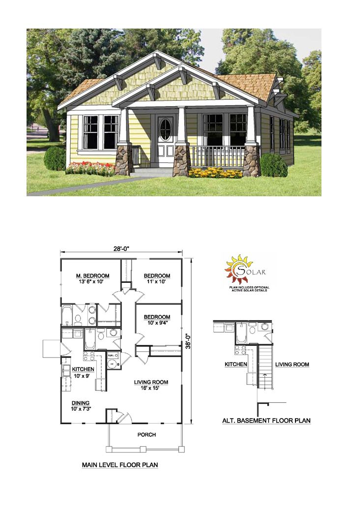 Craftsman House Plan 94371 | Total Living Area: 1064 sq. ft., 3 bedrooms and 2 bathrooms. #craftsmanhome