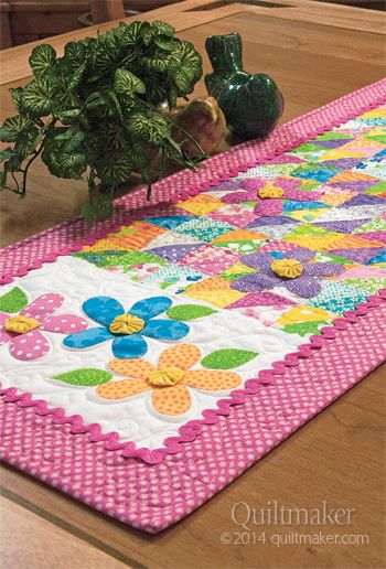Spring Petals by Margie Ullery for Quiltmaker Magazine Mar/Apr 14 #tablerunner