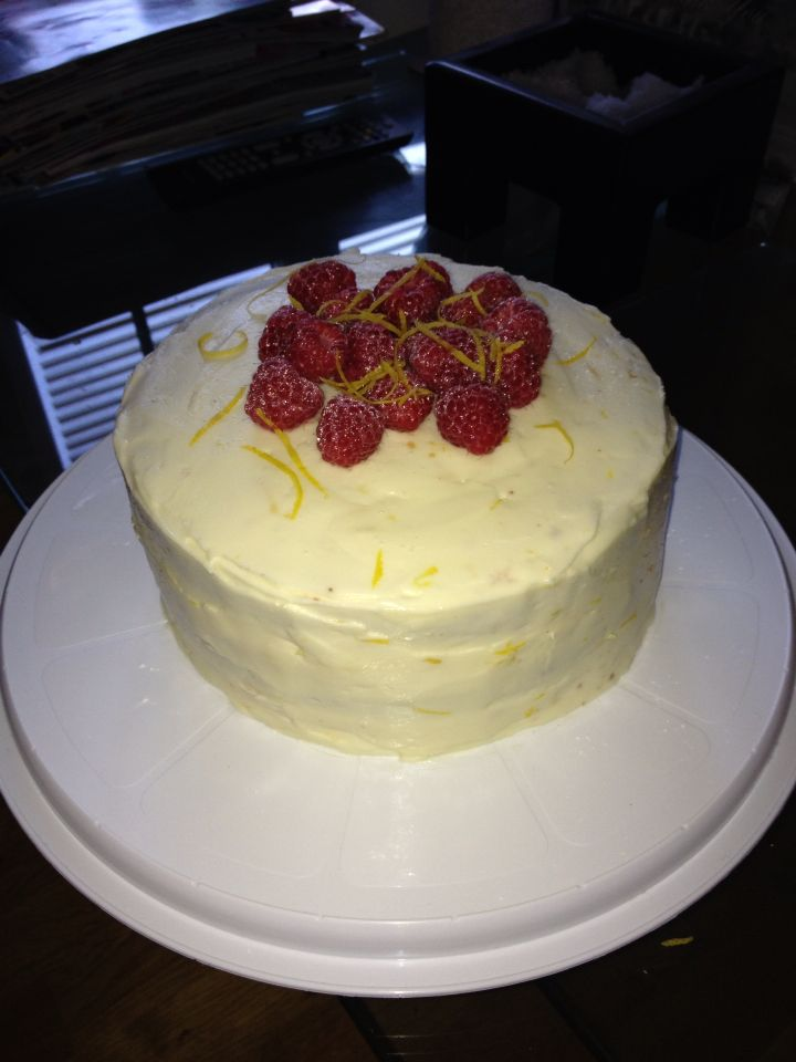 Lemon and raspberry triple layer cake