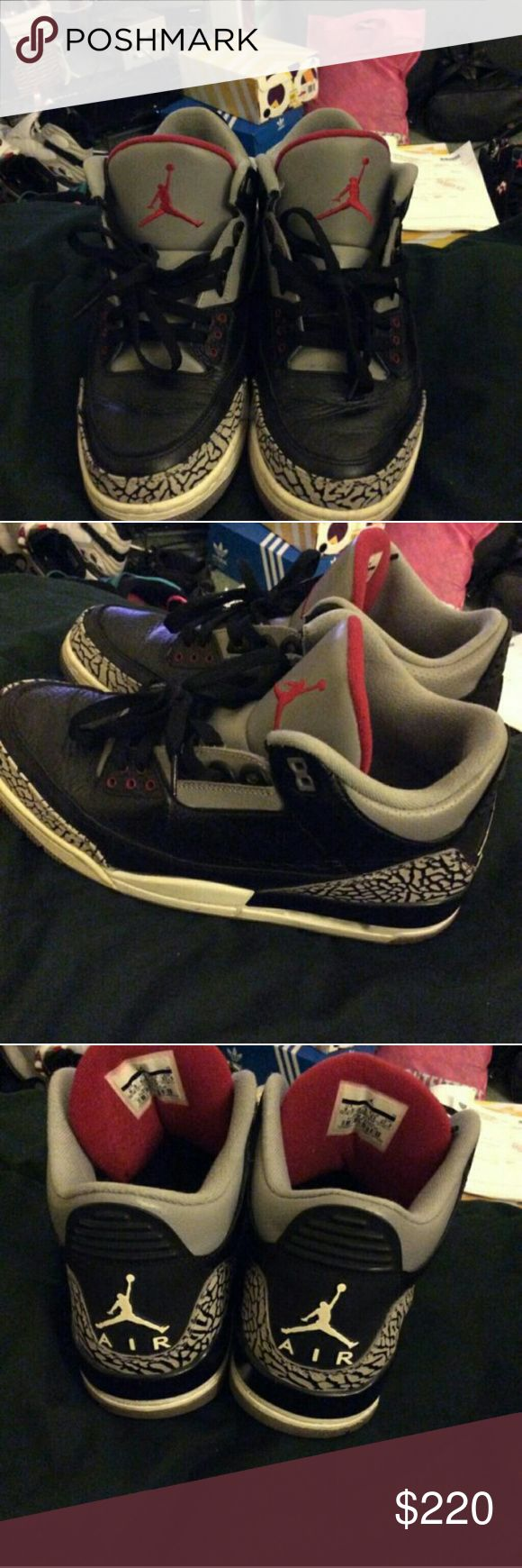 Jordan black cement 3 Jordan black cement 3 size 9.5 work handful of time slight cracking 100 percent authentic missing box , NO TRADES . Jordan Shoes Sneakers