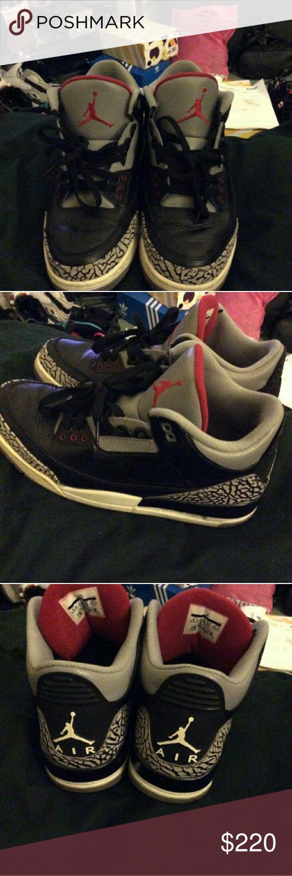 Jordan black cement 3 Jordan black cement 3 size 9.5 work handful of time slight cracking 100 percent authentic missing box , NO TRADES . Jordan Shoes Sneakers