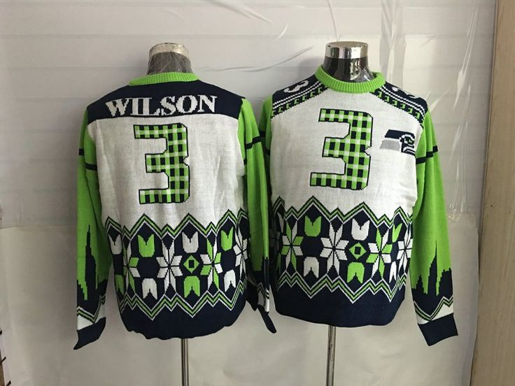 Ugly+Christmas+Sweater+NFL+Team+Seattle+Seahawks+Russell+Wilson+Green+Blue+White+M-XXL