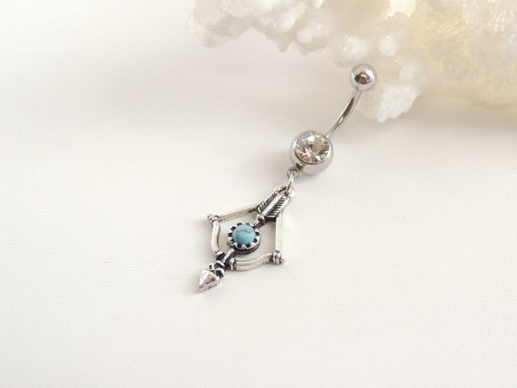 Turquoise Arrow Dangle Belly Ring