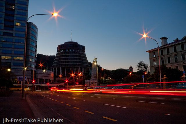 FreshTake Publishers (Photographer: Jennifer Hammond): This photo comes from our calendar and is slightly different. It is taken at dusk in downtown #Wellington ,#NewZealand. In the center of the photo is one of New Zealand's parliamentary buildings called the Beehive.  On the skyline are not skyscrapers but trees. Even in the middle of New Zealand's capital city you are never far away from nature in New Zealand.