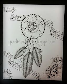 Dream catcher of music makers. 8X10 available. #zentangle #dreamcatcher #doodle #art
