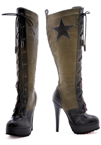 """""""These boots were made for walking...""""  Gendered military attire...is it a joke or is this serious?"""