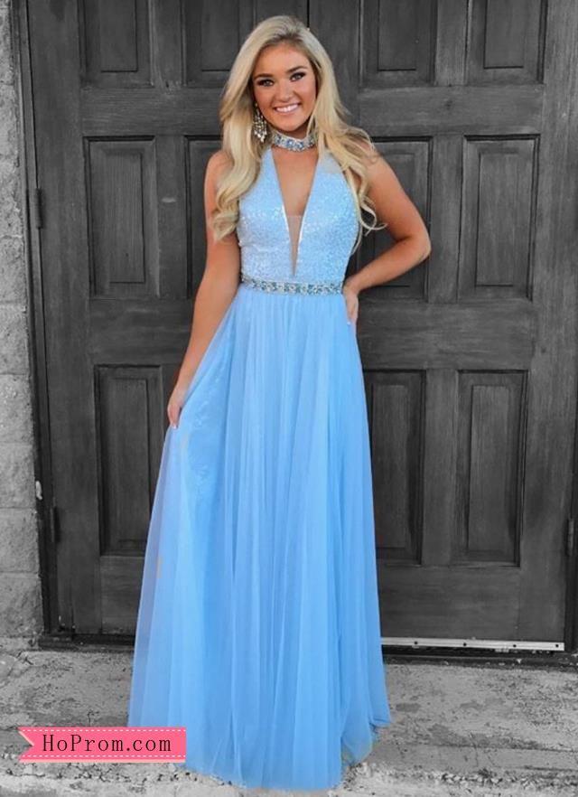 28a85b05e7c Light Blue Choker Halter Prom Dresses Formal Dress Gown in 2019 ...