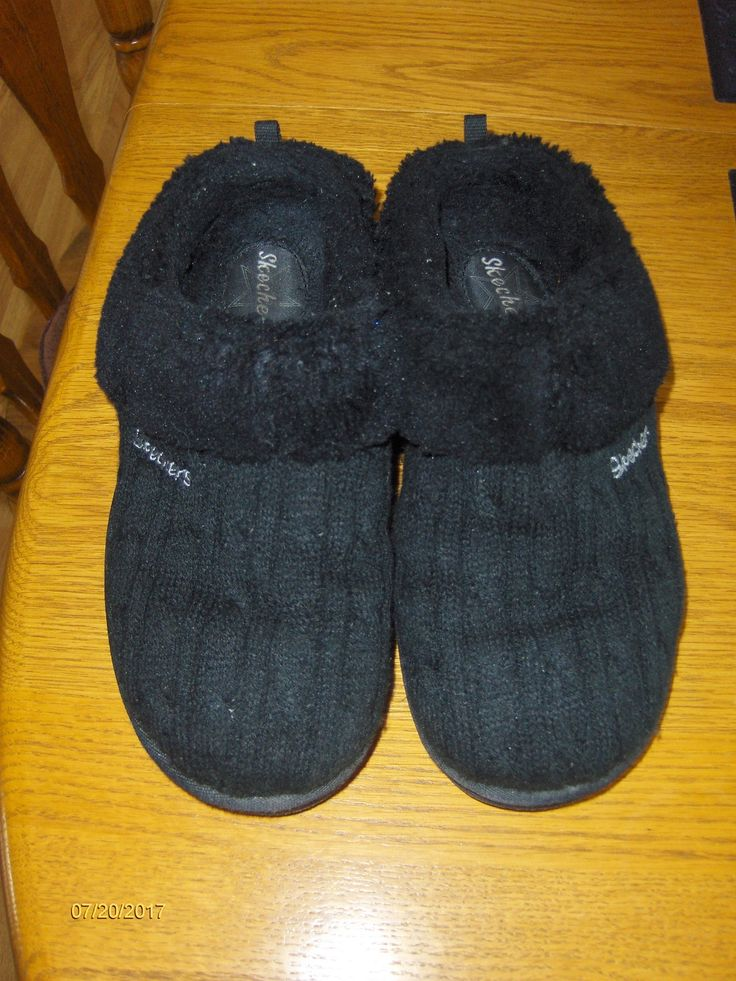 Skechers Slipper House Shoes Cable Knit Clogs Mules Womens 9 Keepsake Postage Black