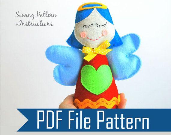 DIY Little Angel. Felt Toy + Sewing Pattern