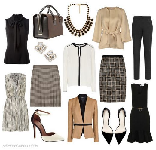 What to Wear to a Work Conference Reiss Sienna Stripe Pleated Skirt Schutz Dorothy Perkins Black Textured Bodycon Dress Victoria Beckham Brown East West Victoria Tote
