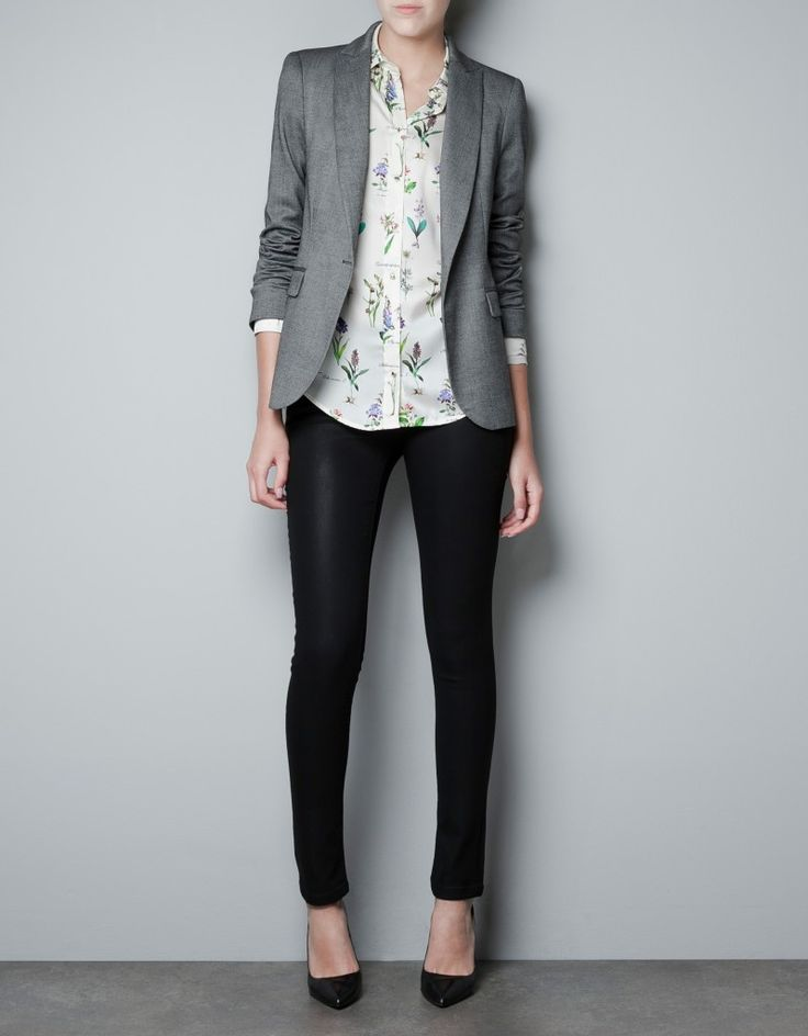 A simple print under a simple blazer-- business casual