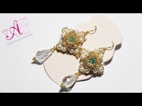 DIY Tutorial Orecchini Neige - Beadwork 2014 10mm chaton, 4mm & 6mm pearls, 3mm pearls or 8/0 seed beads, superduo, 15/0 seed beads, 11/0 seed beads, 2 drops