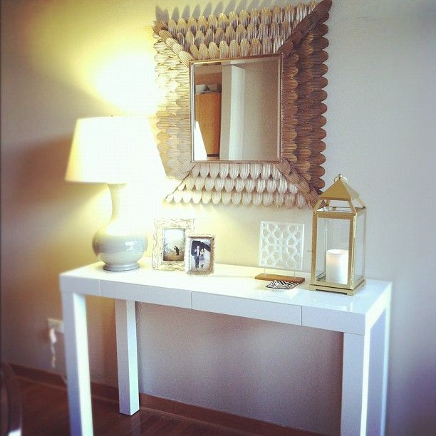 Console table and mirror display.  Could easily make that mirror with cardboard