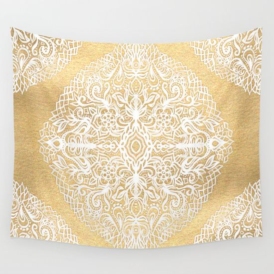 Buy White Gouache Doodle on Gold Paint by micklyn as a high quality Wall Tapestry. Worldwide shipping available at Society6.com. Just one of millions of products available.