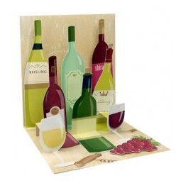 Felicitare 3D Treasure: vinuri/flori