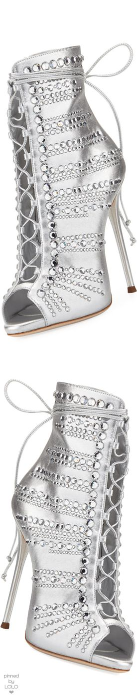 Giuseppe Zanotti Embellished Metallic Leather Peep-Toe Bootie #giuseppezanottiheelsstilettos