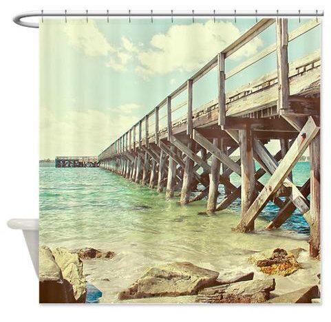 Shower Curtain, Ocean Photography Fort Foster Pier Maine, Teal Blue, Nautical Beach Decor Ocean Shower Curtain, Bathroom Decor For the Bath by ShadetreePhotography on Etsy https://www.etsy.com/listing/198432764/shower-curtain-ocean-photography-fort