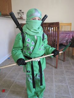 Joey, my 6-year-old, wanted to be the Green Ninja for Halloween, but they haven't started selling those costumes yet. So I had to make my ve...