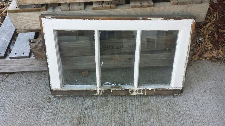Vintage Antique Three 3 Pane Wood Window Frame Sash With