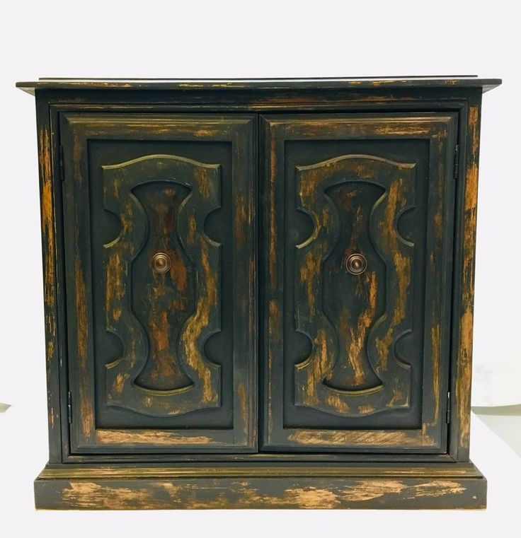 Vintage Chippy Black Cabinet | Black distressed cabinets ...