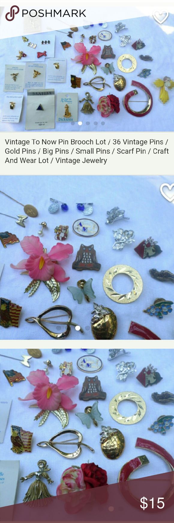 36 Vintage Brooches If you love bead lots, jewelry lots or craft lots (like me),? then you know how hard it is to find decent priced lots filled with pretty items. Until now!  You will receive 36 pins and brooches.? Some are vintage and others are modern.  Great for crafting, wearing or giving as gifts.  Lots of gold colored pins. Lots are still on original packaging paper. Some have markings.  Weighs 7 ounces. Jewelry Brooches