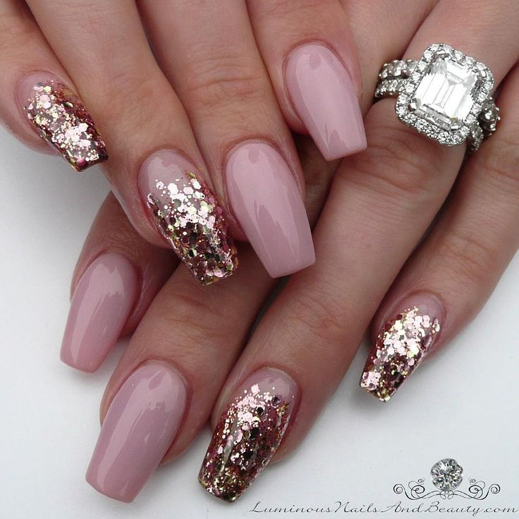 Nude Pink & Gold | Sculptured Acrylic with @youngnailsinc Mani Q Pink 106, @glitter_heaven_australia Antique Broach. #sparkle #shimmer #glossy #luminousnails #luminousnailsandbeauty #nailartist | gorgeous, stunning acrylic / gel nails w/ glitter nailart
