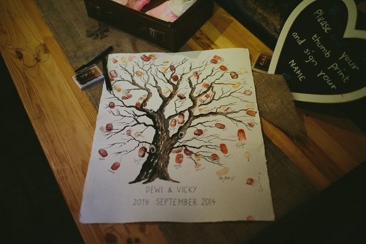 Finger Print Tree Guest Book Natural Rustic Hand Crafted Autumn Wedding http://www.epiclovephotography.com/